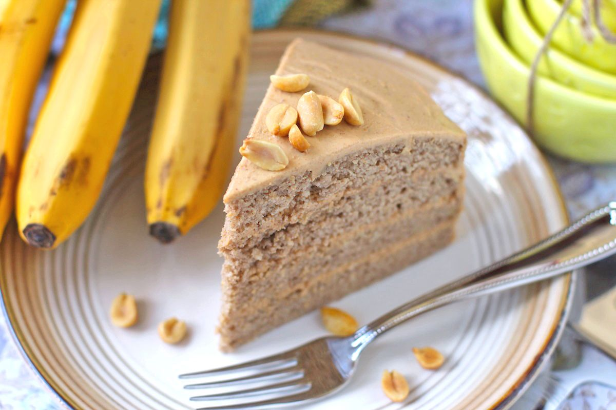 Guilt Free Banana Cake with Peanut Butter Frosting