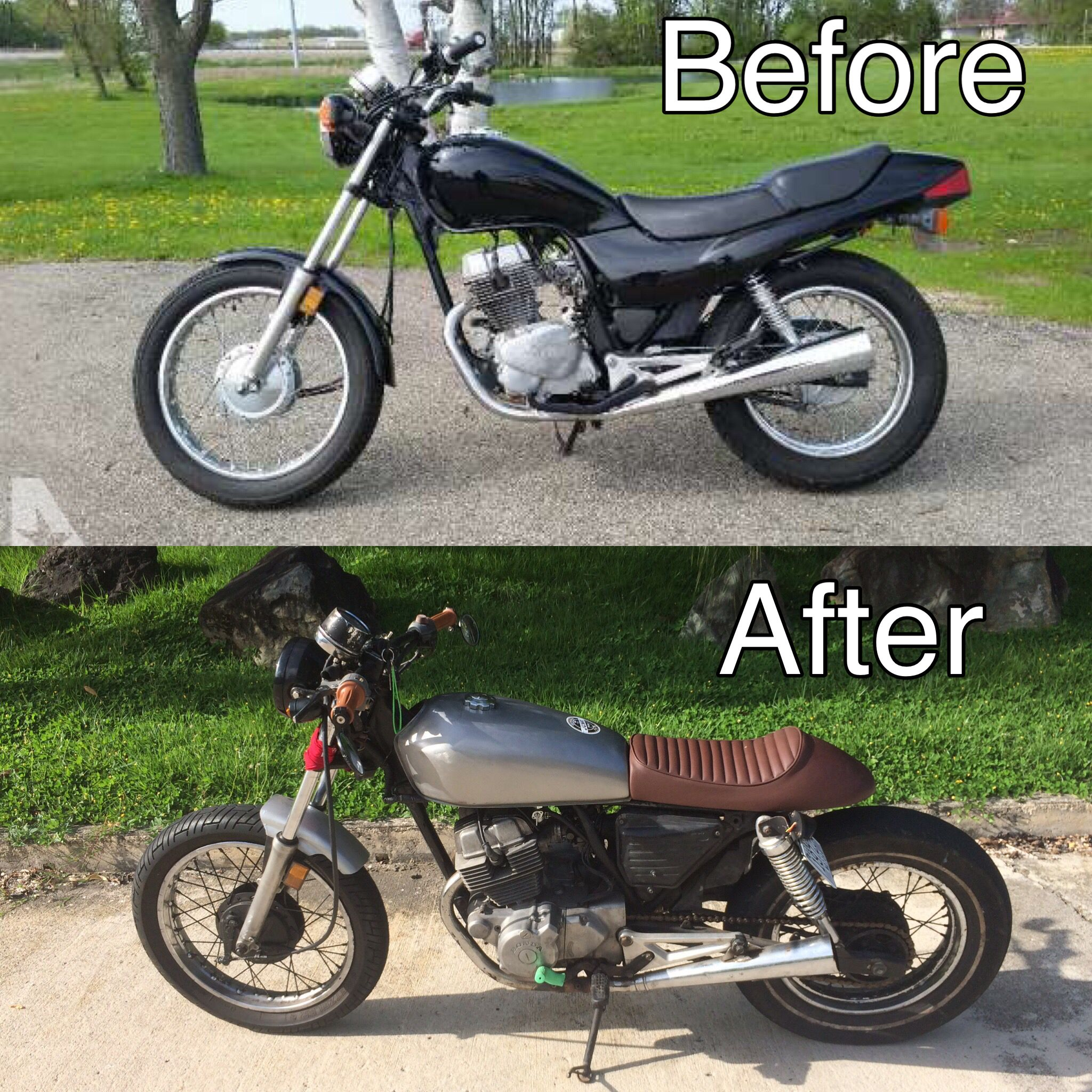 750 Cafe Racer This Is My First Project Honda Cb250 Nighthawk Lots Of Fun Next