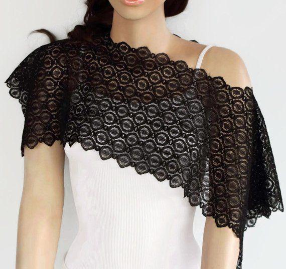 637f341eb2 Black Lace Shrug, Evening Dress Cover-up, Lace Bolero, Weddings Capelet, Black  Lace Shawl Top, Uniqu