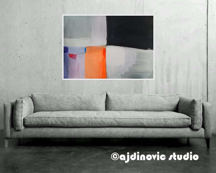 Big Paintings For Living Room. Large Modern Artwork Abstract Art Big Size Wall Contemporary Orange  Yellow Black Grey White Acrylic Charcoal Design 100 x 70 cm