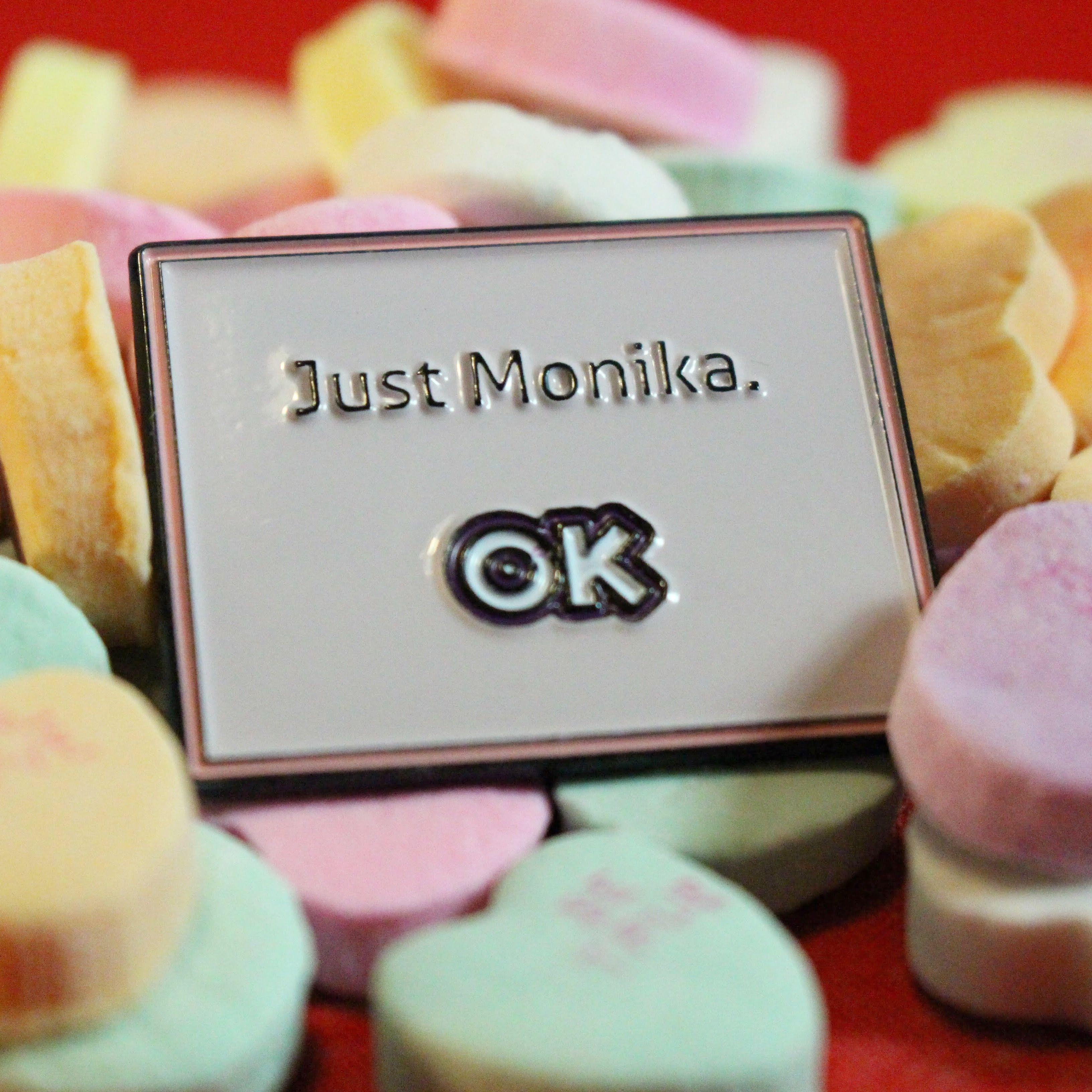 Just Monika enamel pin! From Doki Doki Literature Club! https://www ...