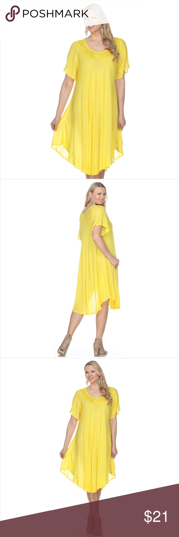Embroidered half sleeve dress yellow boutique my posh closet