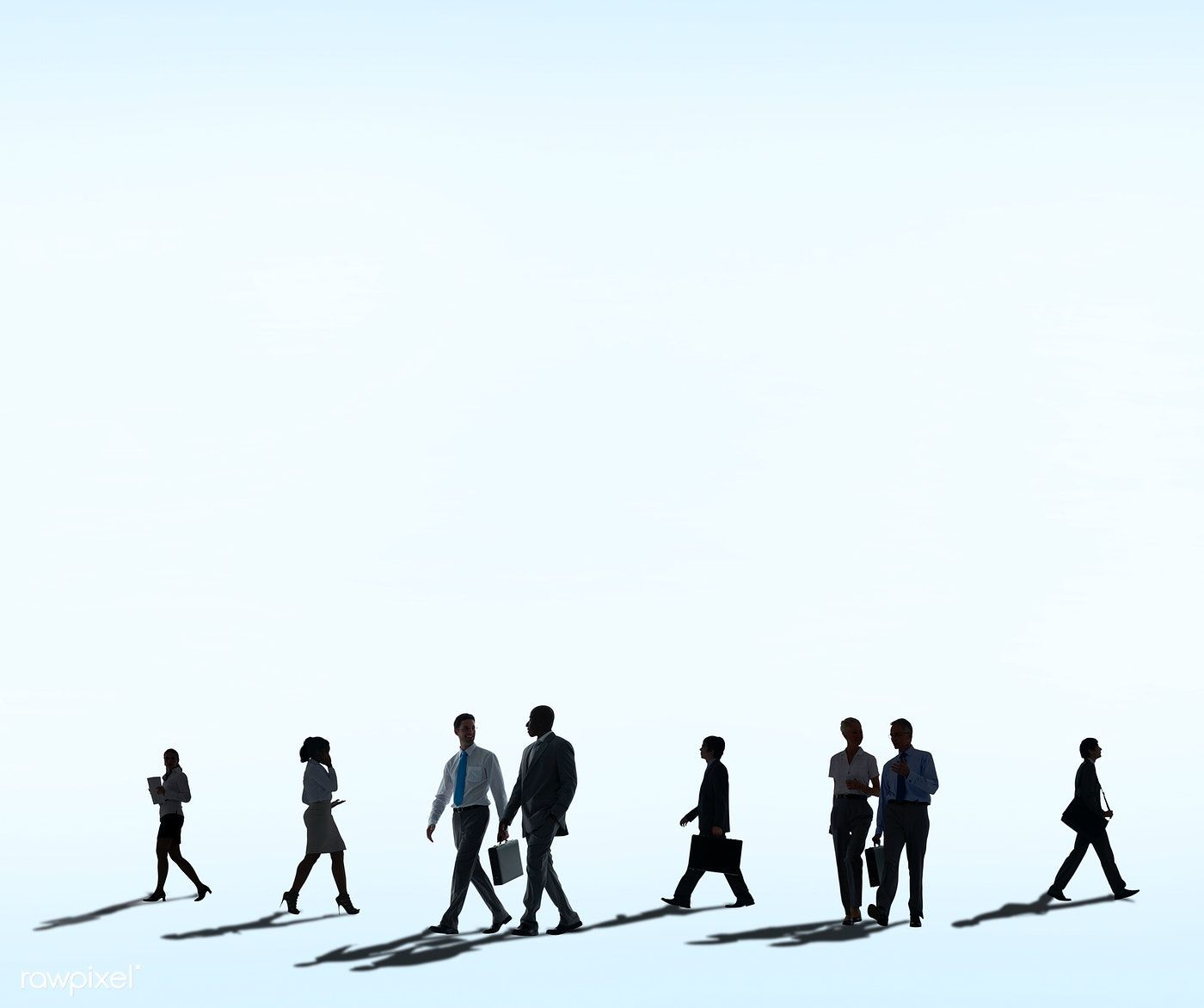 Download Premium Psd Of Business People Walking Silhouette On White