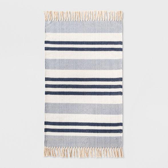 """stripe kitchen rug 1'8""""x2'10"""" blue - threshold™ : target"""