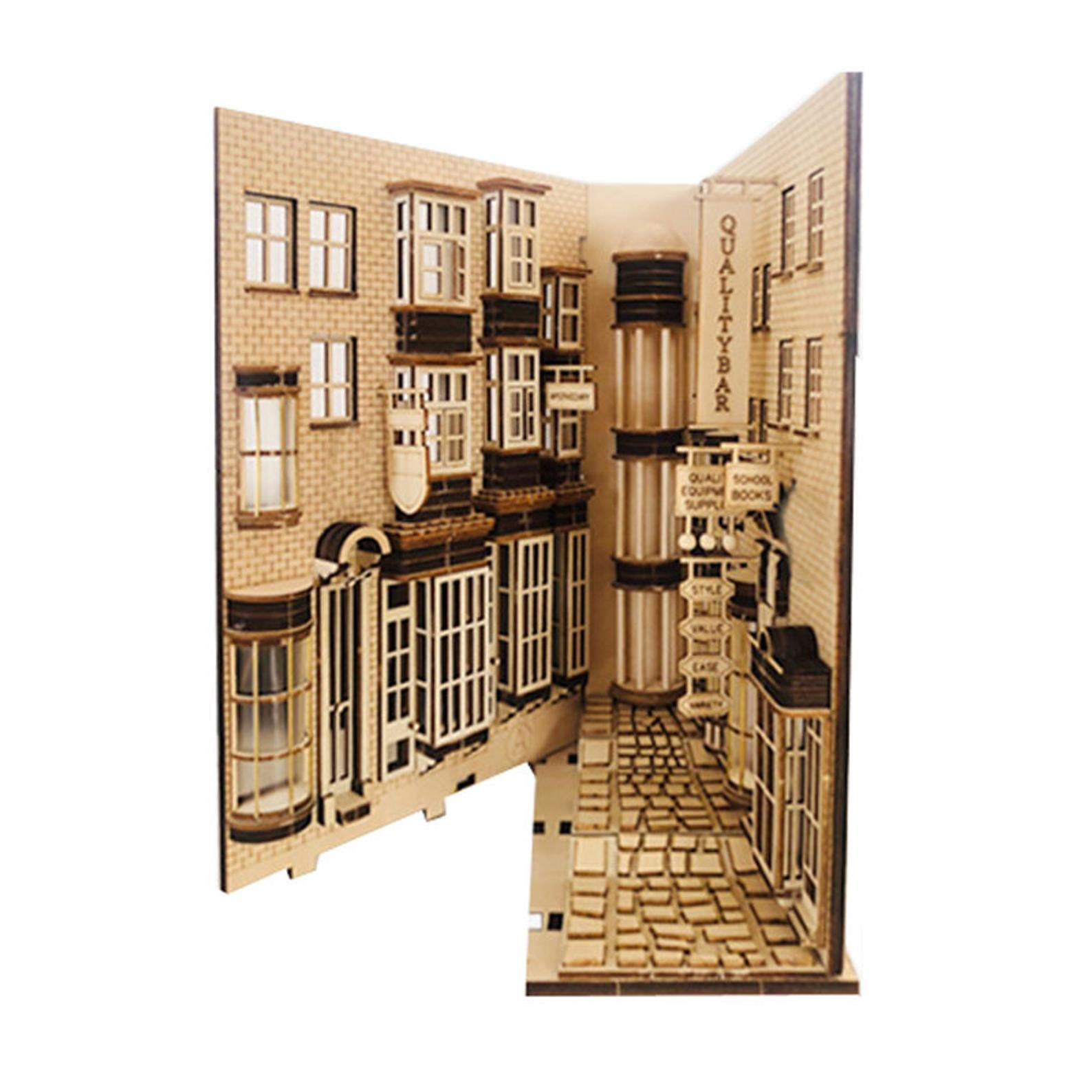 Alley Book Nook Book Shelf Insert Bookcase With Light Etsy In 2021 Book Nooks Wooden Books Book Decor