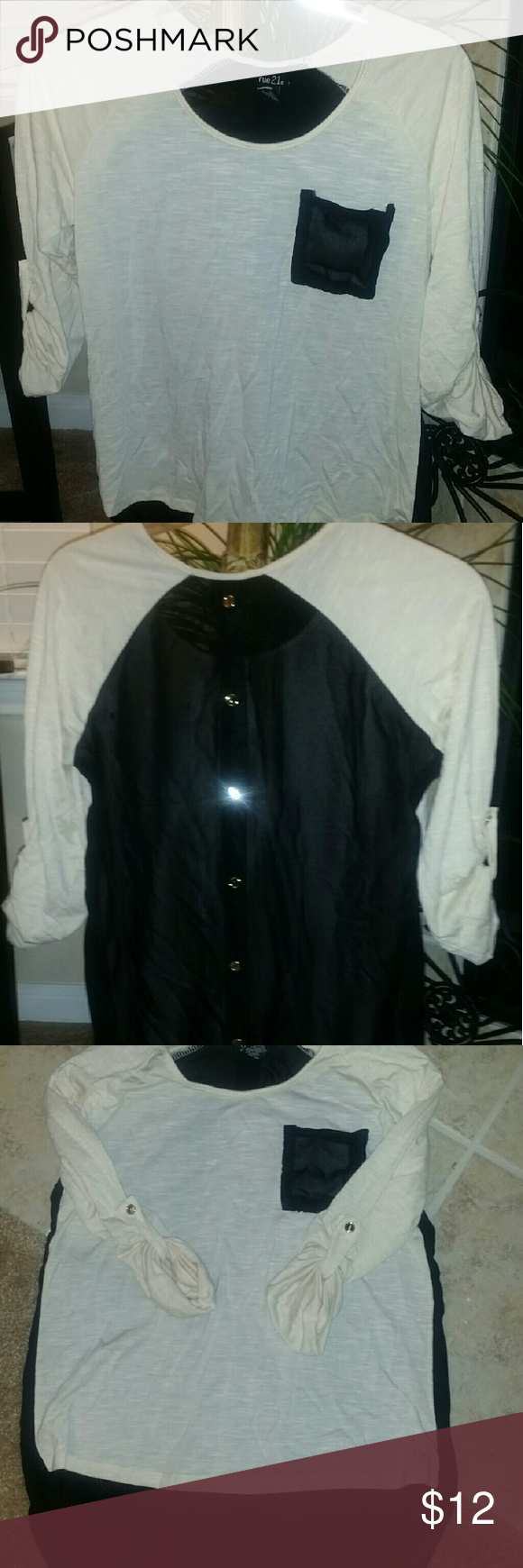 Top Rue 21 High Low sheer back shirt and 3/4 sleeve.  Black sheer back has gold buttons down the center. Rue 21 Tops Blouses