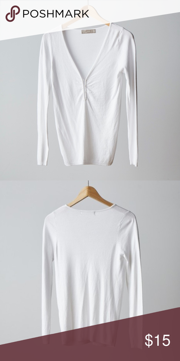 8aa488b83c79dd Zara V-neck Neck White Sweater Easy casual white knit top with inverted  buttons adding a nice detail. A nice easy piece to add to your everyday  wear.