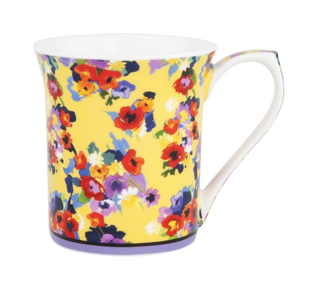 Retro Floral Bone China Mug - This colorful mug will make your morning cup of tea bright and cheery.