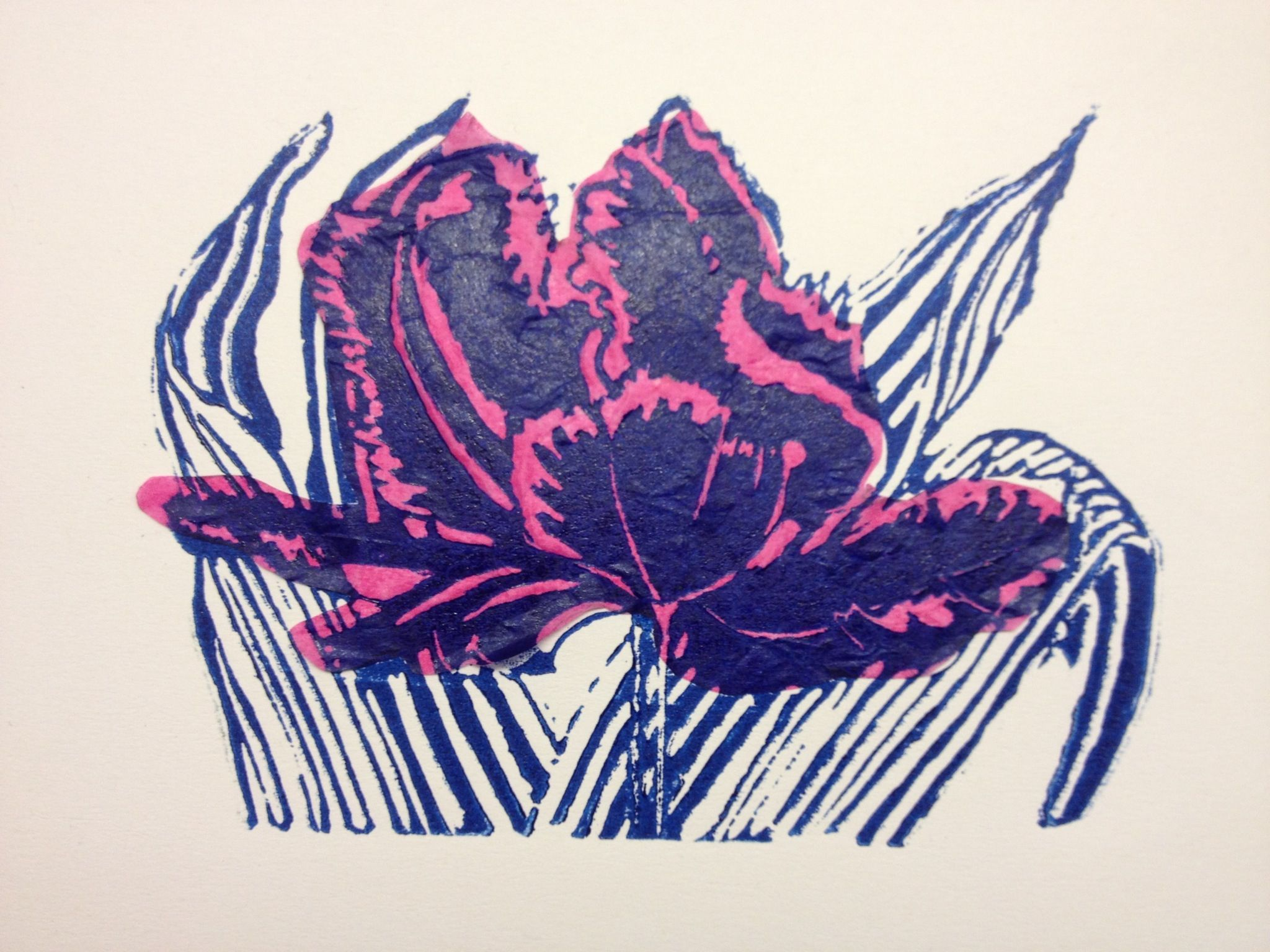 linocut using the chine colle technique print making pinterest printmaking prints and art. Black Bedroom Furniture Sets. Home Design Ideas