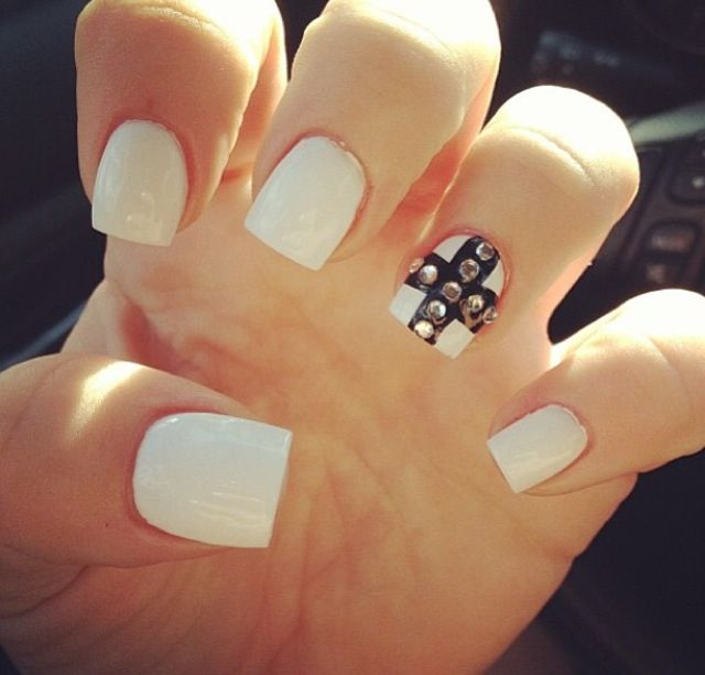 White nails with cross on one finger and rhinestones | Nails ...