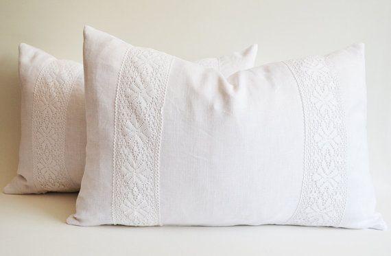 Sukan white lace throw pillow
