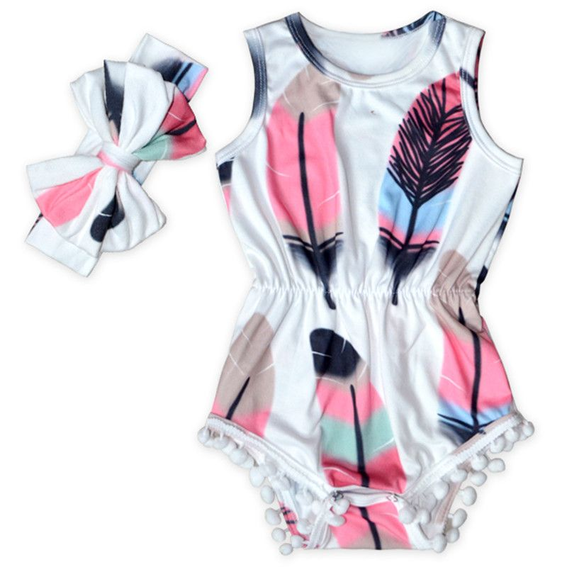 Cute Baby Clothes Feather Printed Baby Girls Bodysuit Set Sleeveless
