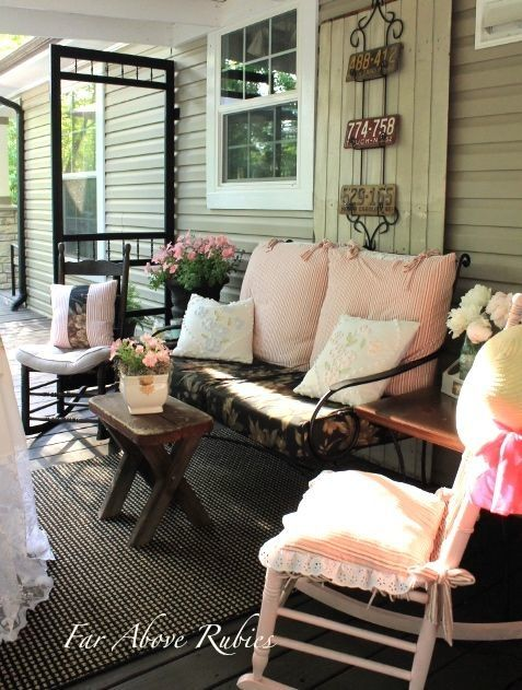 Screen Porch Seating Daybed: Repurposing A Screen Door As A Porch Divider (1) From