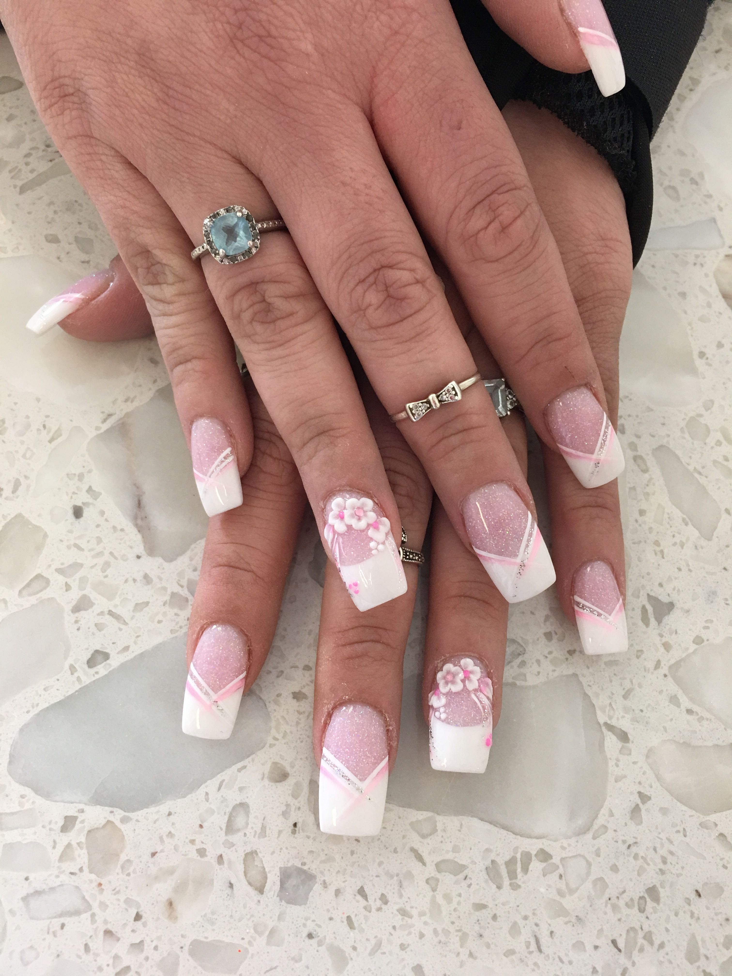 Pink and white French manicure design 3D flower Follow my girl on ...
