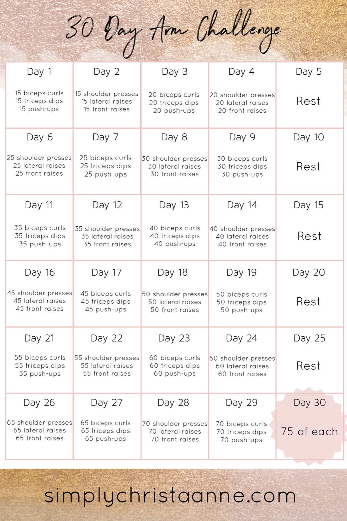 30 Day Arm Challenge ~ Simply Christa Anne