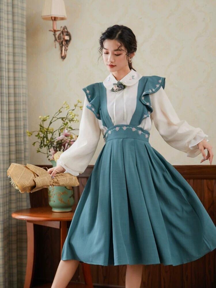 Full Bloom Blouse & Midi Skirts - Blouse / S