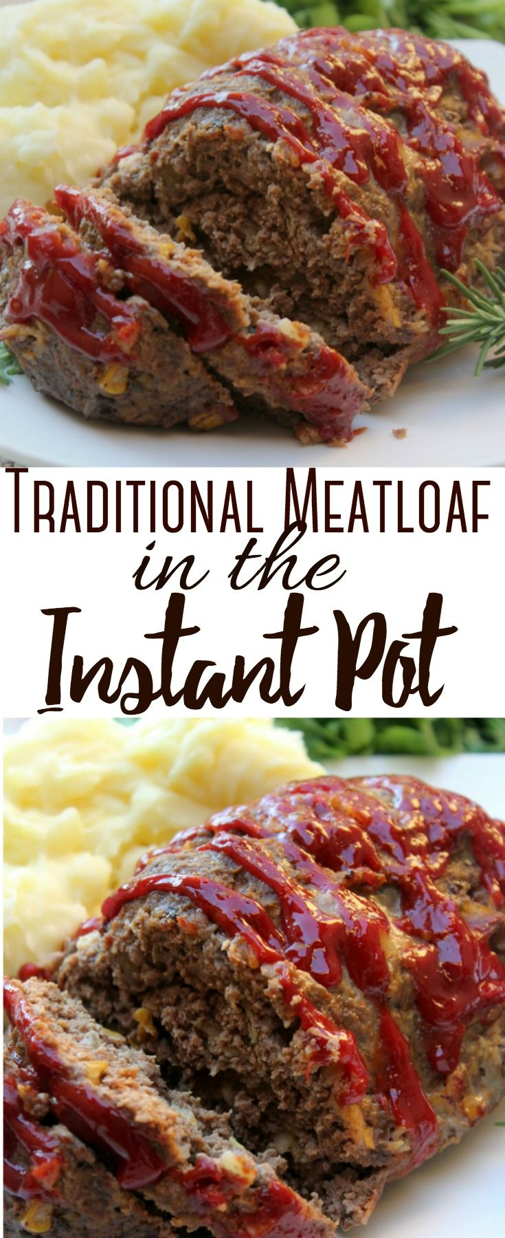 This traditional meatloaf recipe features flavorful seasonings, ground beef, and a touch of garlic. It cooks up quickly in the Instant Pot. #instantpotrecipeseasy