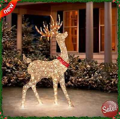 outdoor christmas reindeer lighted decor 60 pre lit sculpture deer garden lawn nbnb - Outdoor Christmas Reindeer