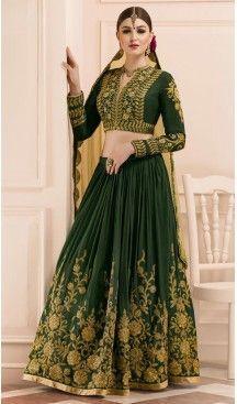 6af6468be5 Bottle Green Color Silk A Line Style Designer Lehenga Choli | FH513478239 # heenastyle, #designer, #lehengas, #choli, #collection, #women, #online, ...