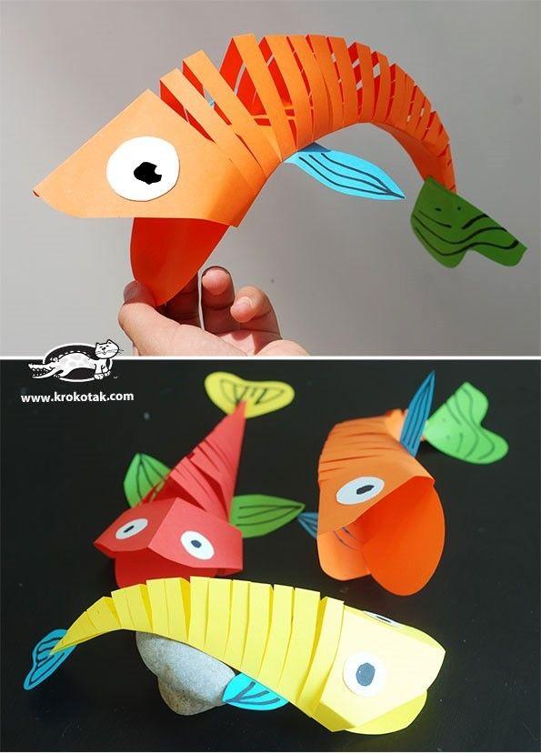 Diy web du jour poissons articul s en papier - Bricolage facile a faire en papier ...