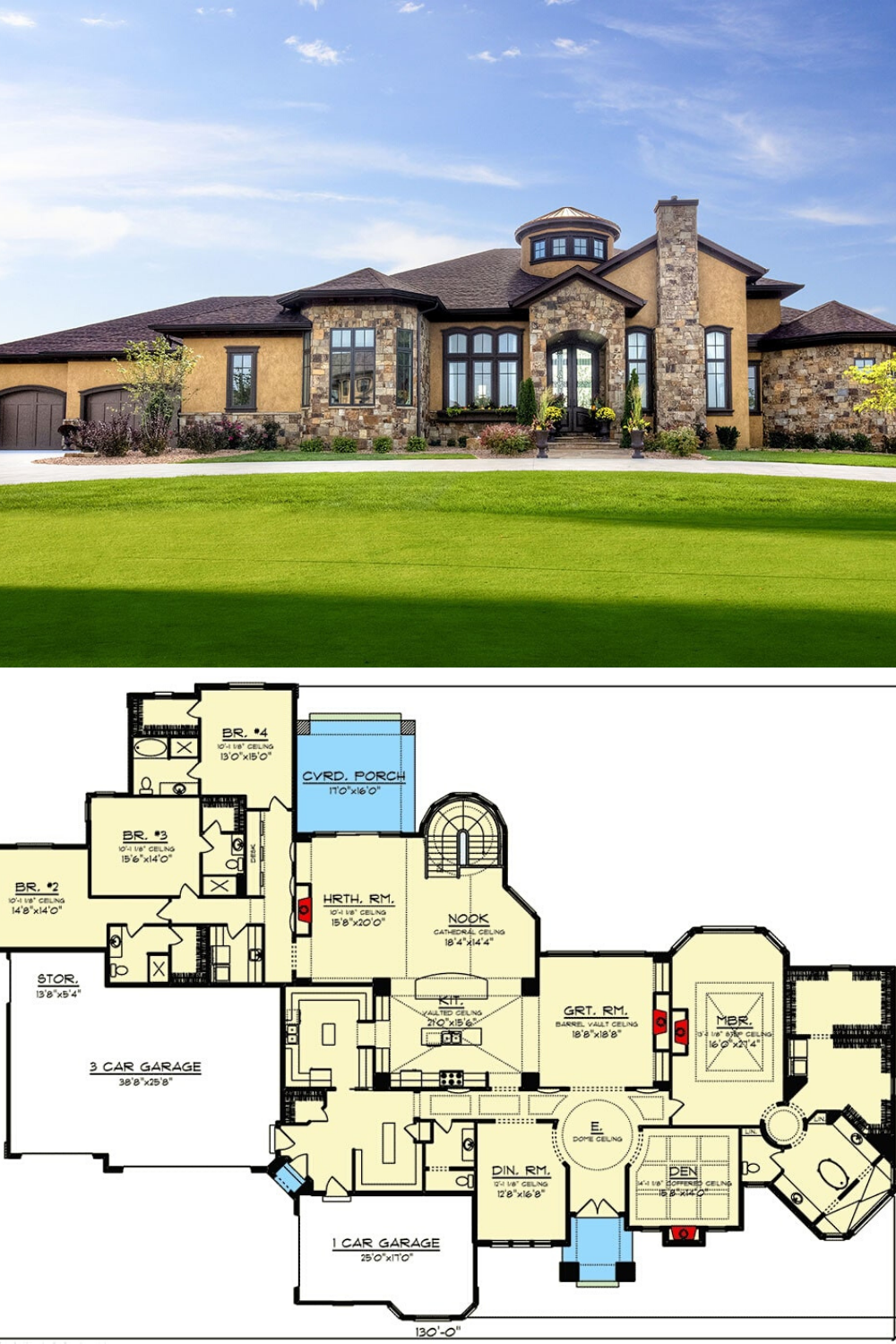 Single Story 5 Bedroom Tuscan Home With Finished Walkout Basement Floor Plan Single Level House Plans Large House Plans Basement House Plans