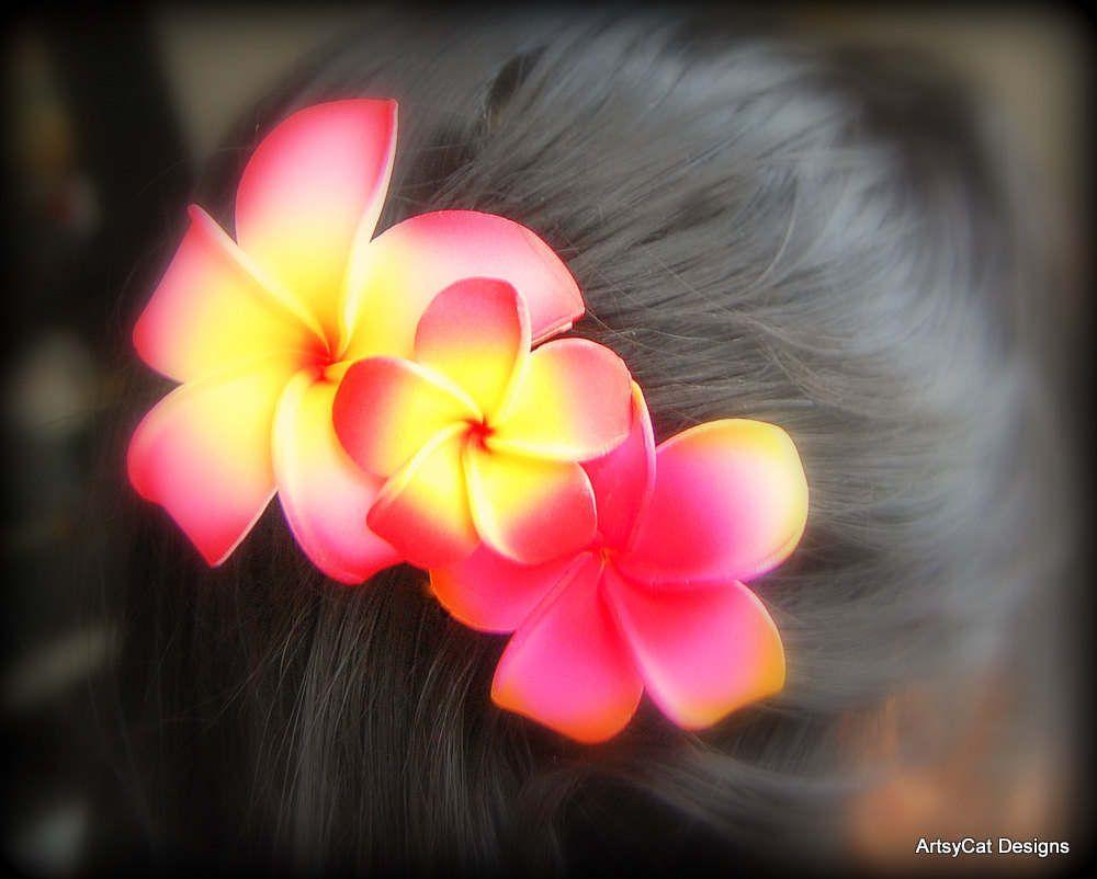 Plumeria Flower Hair Clip Combo Hair Clip With 3 Colors And Sizes Red Yellow Orange Frangipani Luau Beach W Flowers In Hair Flower Hair Clips Hair Clips