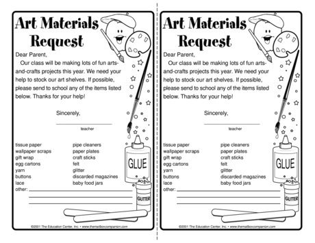 Art Materials List - The Mailbox