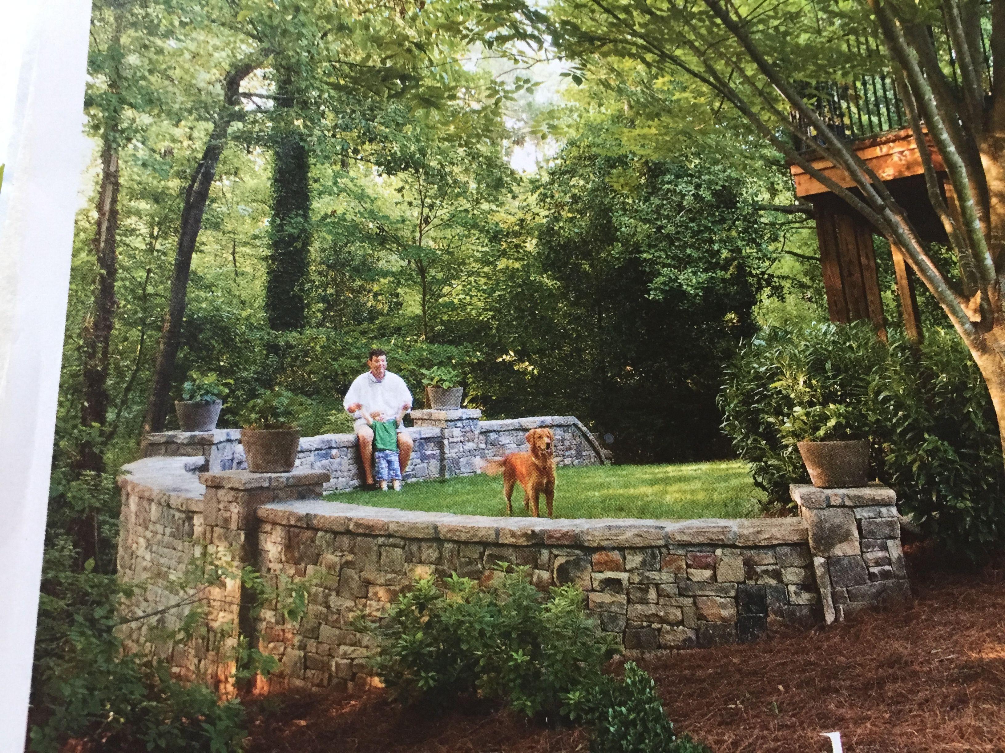 Rock retaining wall outdoor spaces u garden pinterest rock