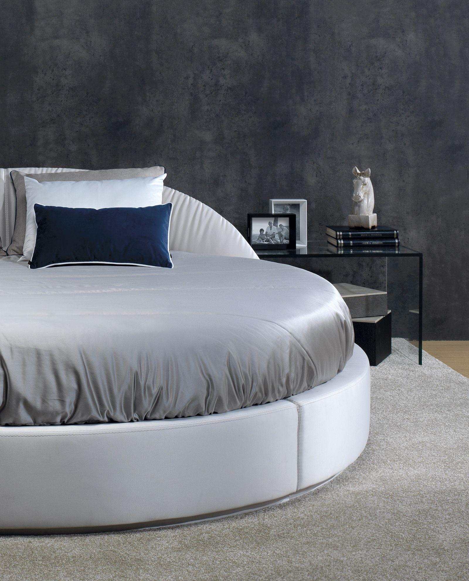 Cama Redonda En Tela Piel Lujo Elegancia Dormitorios  # Muebles Zb Zaragoza