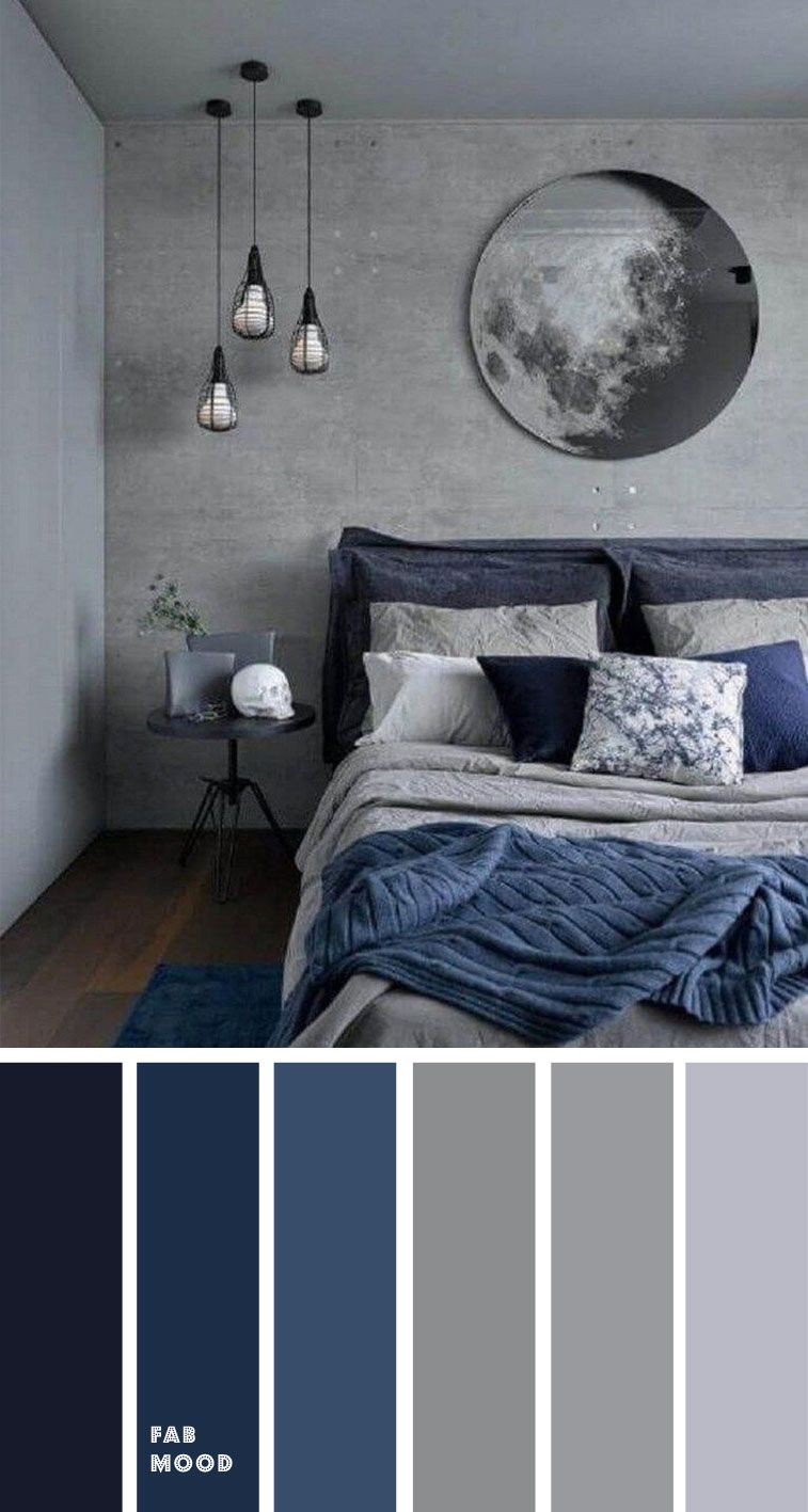 Blue and grey bedroom color palette | Dark blue bedrooms ...