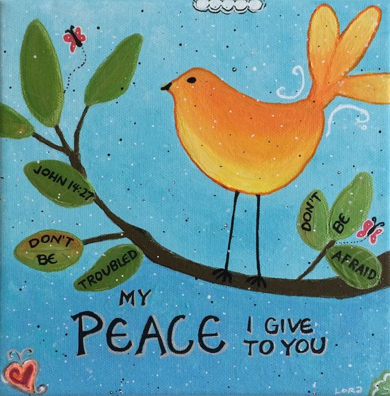 Peace I Give To You Bird Canvas by SeeSkyDesigns on Etsy