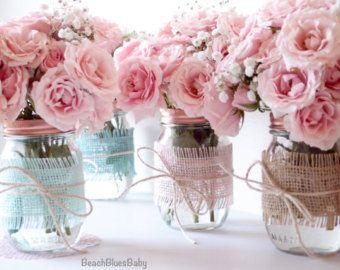 baby shower centerpiece painted mason jars by beachbluesbaby