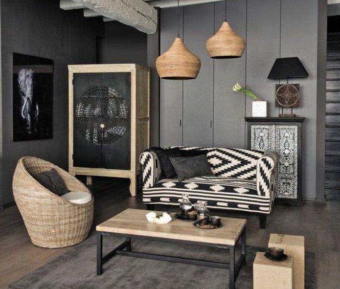 Déco Salon – deco salon gris, murs couleur anthracite, canapé en ...