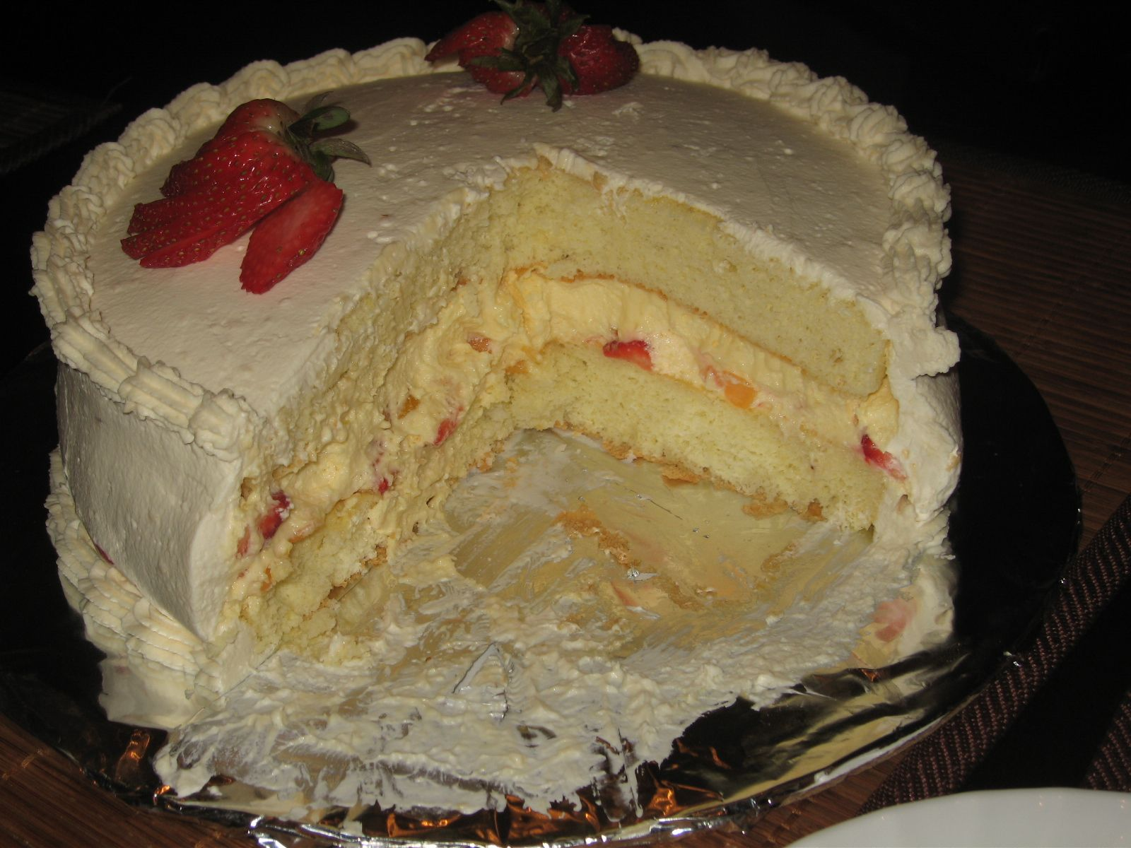 Chinese Style Sponge Cake with Fruit, Mousse, and Whipped ...