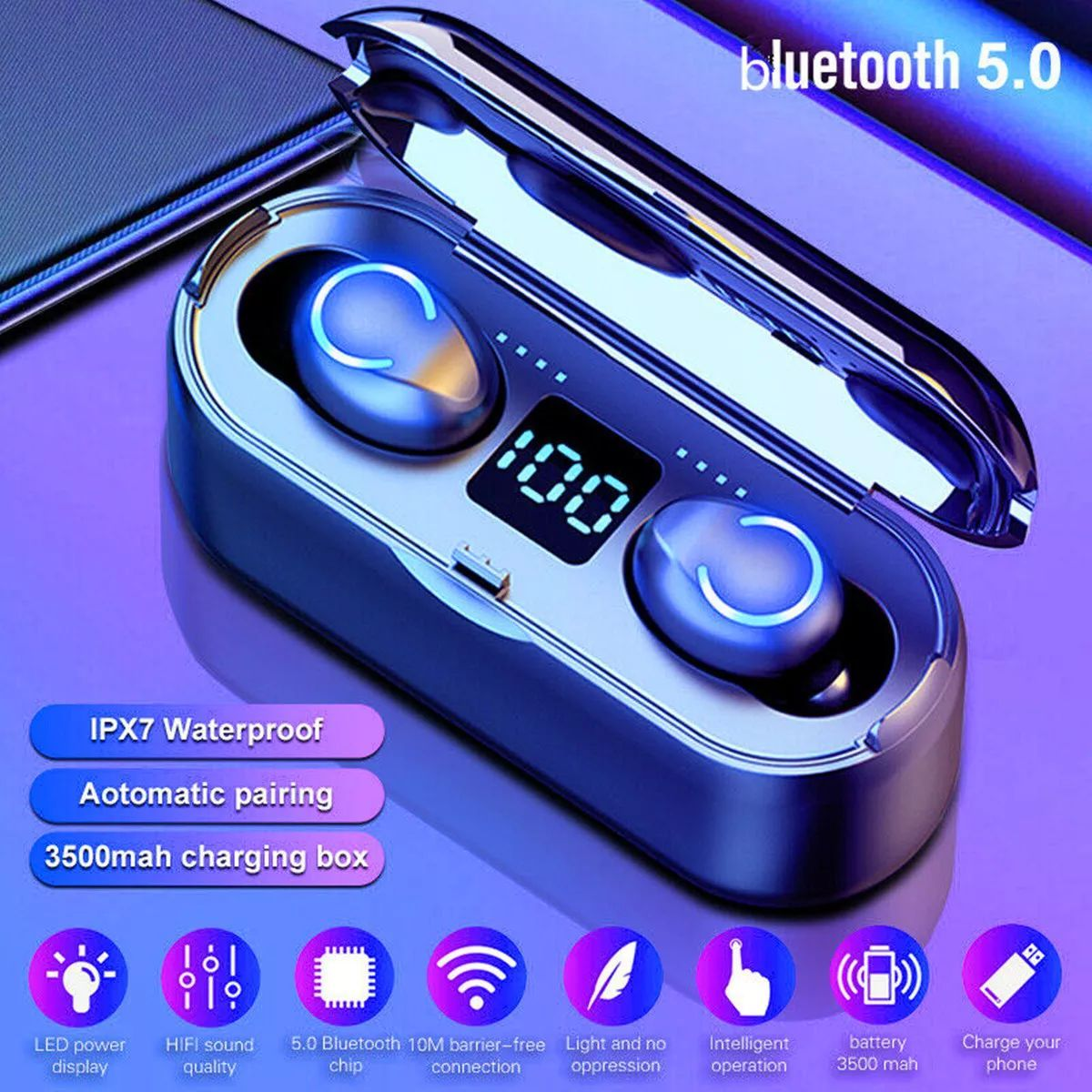 F9 8 Tws Wireless Earbuds Bluetooth 5 0 Earphone Hifi Stereo 3500mah Power Bank Ipx7 Waterproof Headphone With Mic For Iphone Xiaomi Audio Video Devices From Waterproof Headphones Earbud Headphones Hifi Stereo