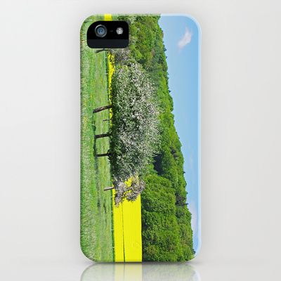 Orchard in the sea of dandelions and rapeseed fields iPhone & iPod Case by Tanja Riedel - $35.00