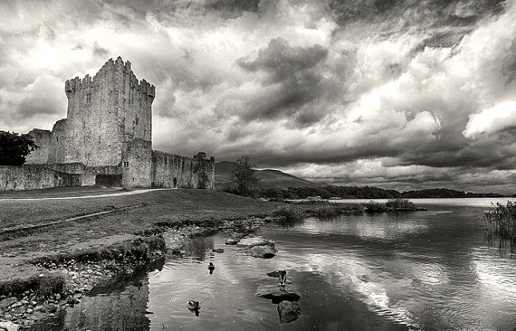 Ross castle ireland black white print ireland landscape photography home decor