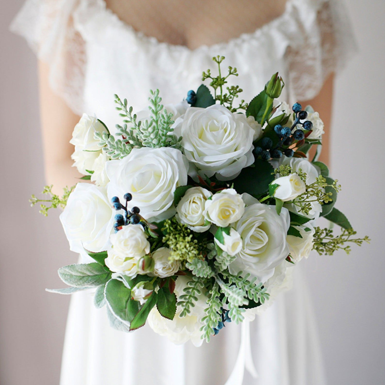 Bridal BouquetWhite Rose Greenery Classic Wedding Bouquet