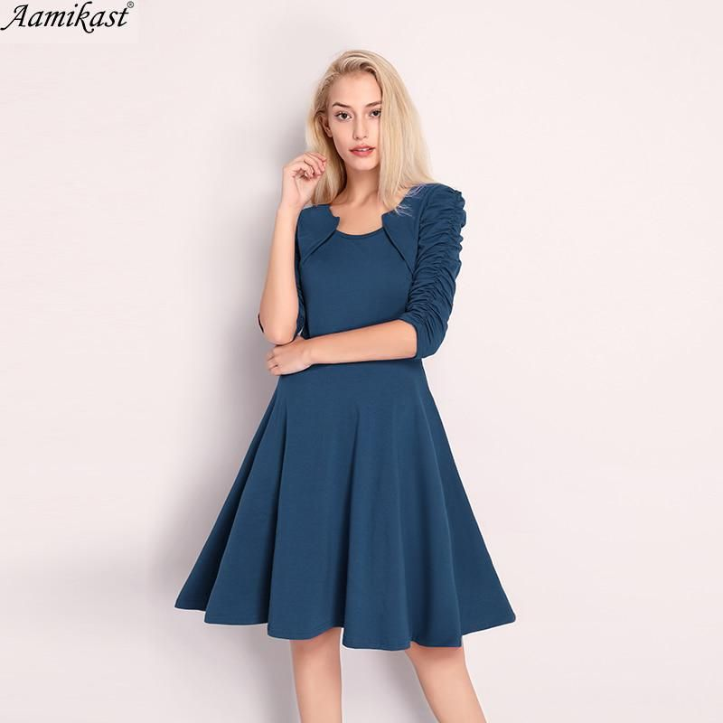 bf3164c895d47 Aamikast 2018 Summer Dress Women Sexy 3 4 Sleeve O-Neck Casual Pleated  Tunic Office Knitted Dresses Vestidos De Festa. Yesterday s price  US   21.69 (18.91 ...