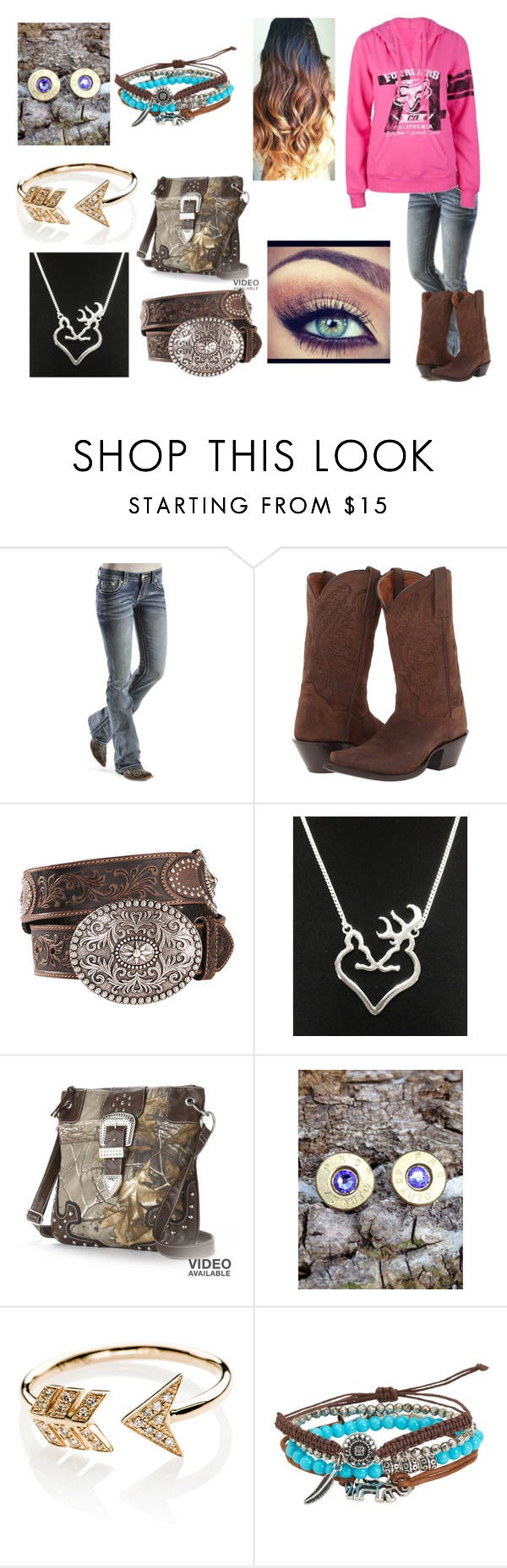"""Untitled #710"" by taylor-loomis ❤ liked on Polyvore featuring Miss Me, Dan Post, Realtree, Bullet, EF Collection and Aéropostale"
