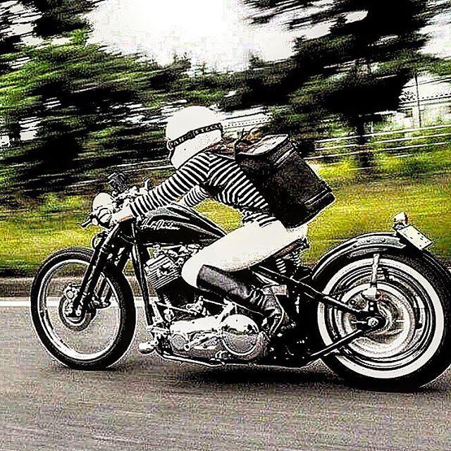 hareydavidson ハーレー女子 ハーレーバイカーガールズバイカー バイク女子 グースネックtcかっこいい女性 渋い  ツーリング スプリンガー