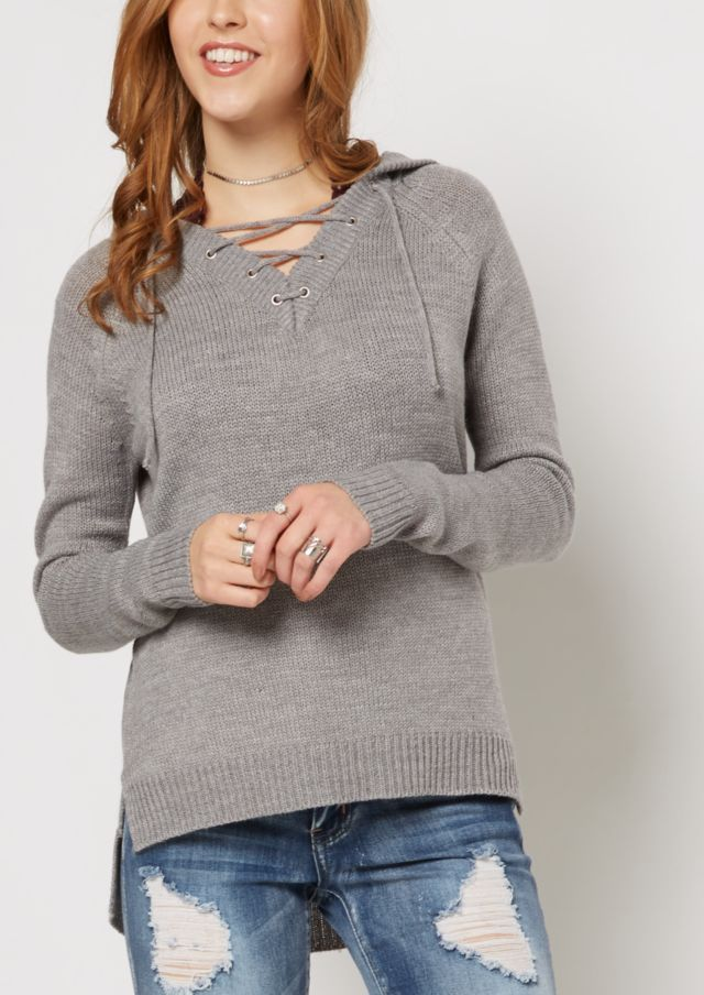 image of Gray Lace-Up Hooded Sweater