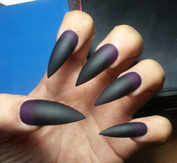 Matte Black & Purple Stiletto Nails, Gothic Press on Nails ...