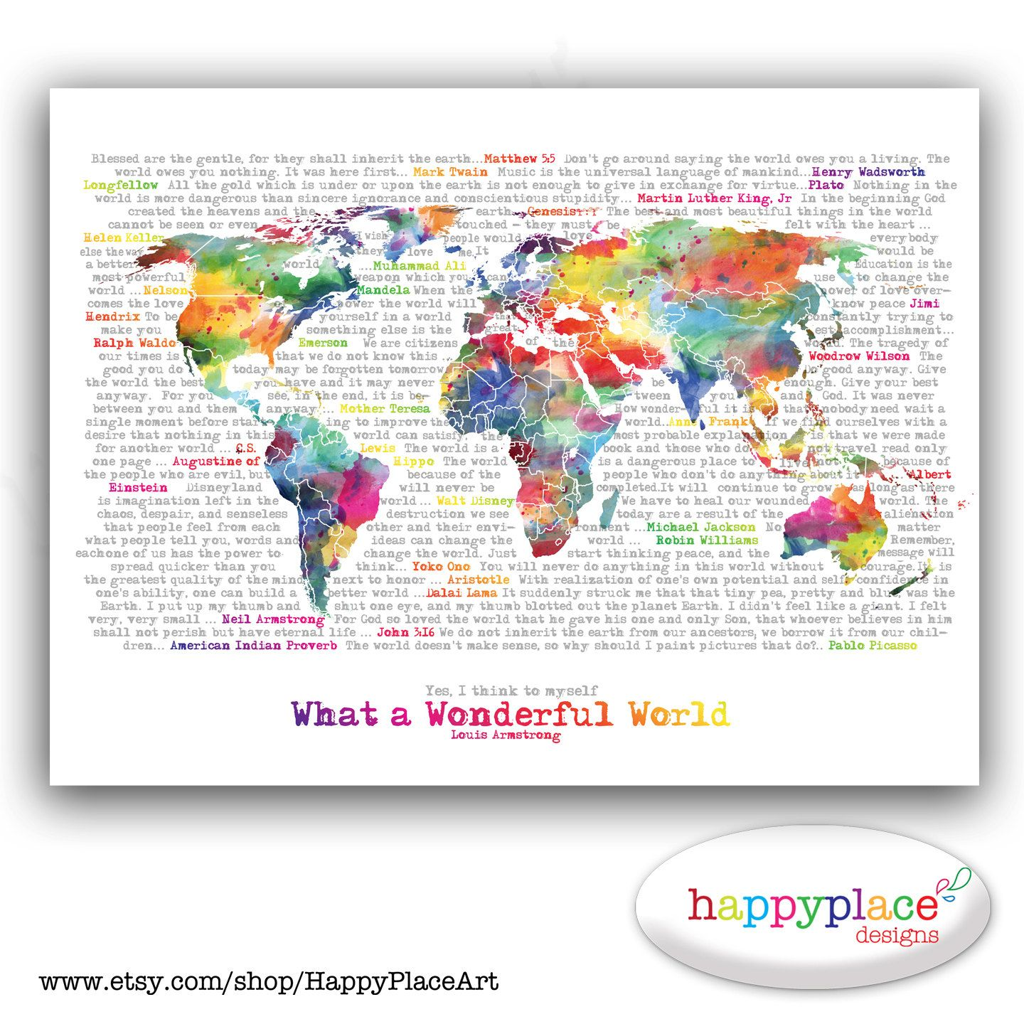 Wonderful world map poster art artistic world por happyplaceart wonderful world map poster art artistic world map watercolor world map in rainbow large world map typography printable map with text art gumiabroncs Images