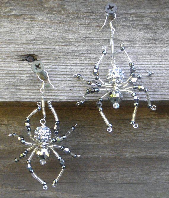 Beaded Spider Earrings by hensandchicks1 on Etsy, $15.00