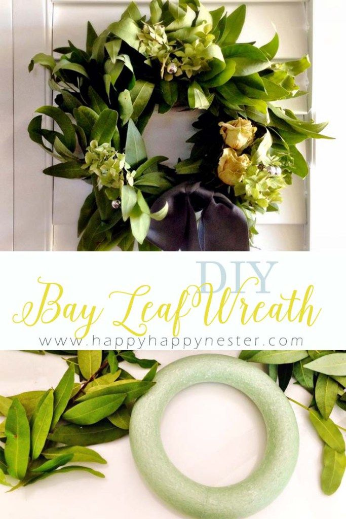 How To Make A Bay Leaf Wreath Happy Happy Nester Leaf Wreath Wreaths Holiday Wreaths