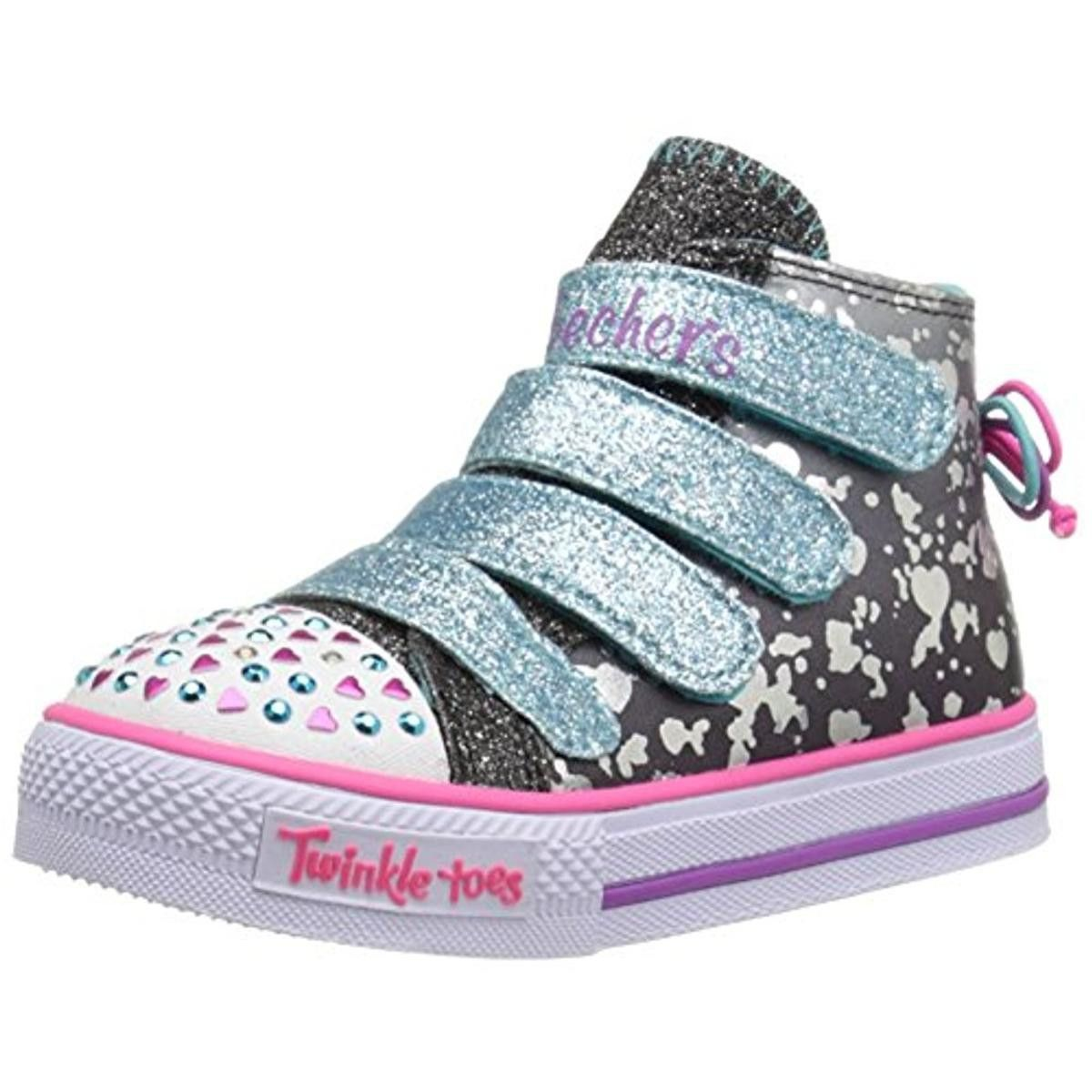 Skechers Girls Skip N Jump Light Up Glitter Fashion Sneakers