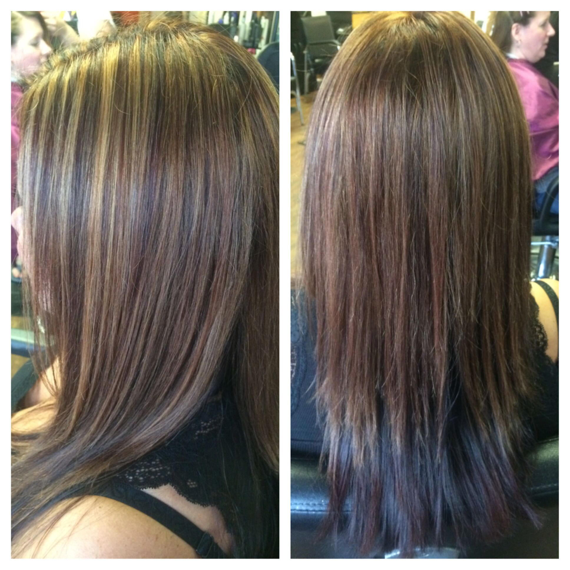 All Over Dark Red Color Partial Blonde Highlight With A Keratin