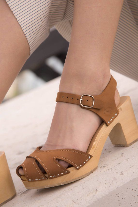 95678a6a80332 Brown leather clogs with straps, boho wooden clogs, high heel ...