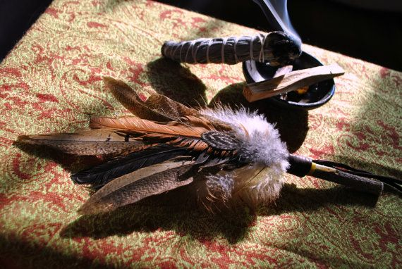 Sacred Smudge Fan with Pheasant and Chicken Feathers by RamRising, $25.00